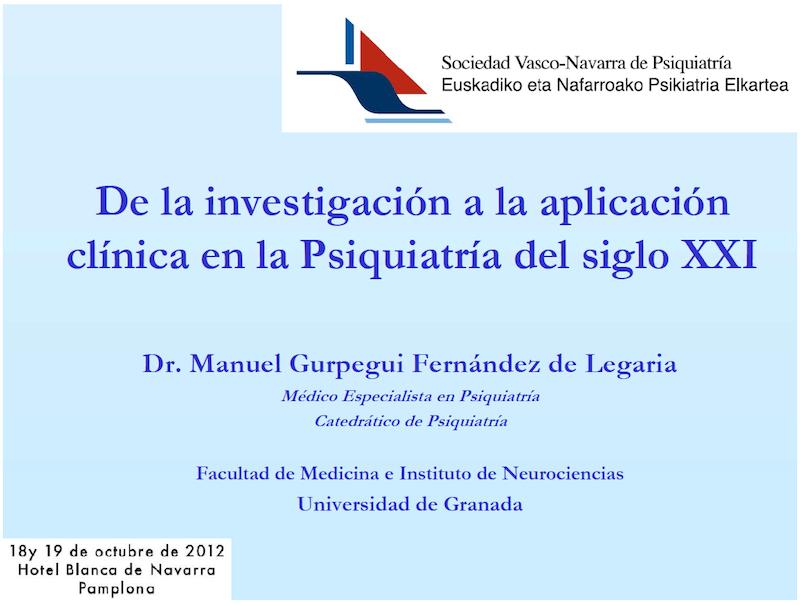 Profesor Manuel Gurpegui: De la investigación a la aplicación clínica en la Psiquiatría del siglo XXI.