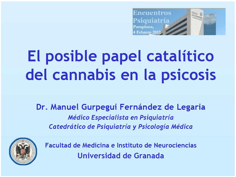 Profesor Manuel Gurpegui: El posible papel catalítico del cannabis en la psicosis.