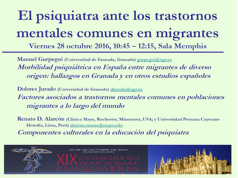 Profesor Manuel Gurpegui: Morbilidad psiquiátrica en España entre migrantes de diverso origen: hallazgos en Granada y enotros estudios españoles.