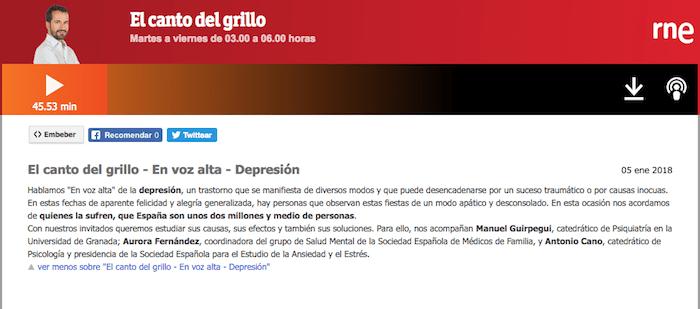 El canto del grillo - En voz alta - Depresión - Profesor Manuel Gurpegui