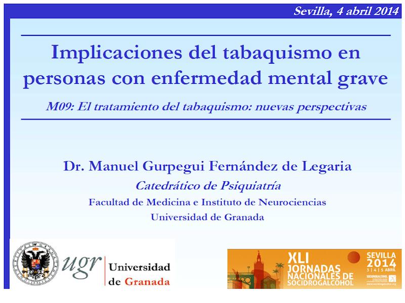 Profesor Manuel Gurpegui: Implicaciones del tabaquismo en personas con enfermedad mental grave.